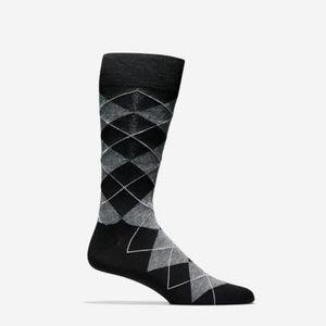 COLE HAAN Branded Argyle CREW Socks BLACK